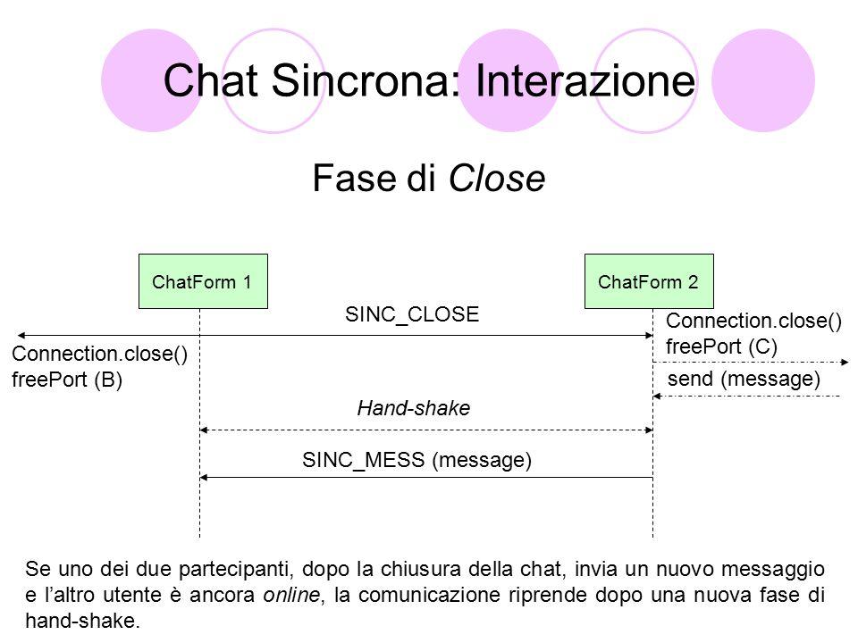 Chat Sincrona: Interazione Fase di Close ChatForm 1ChatForm 2 SINC_CLOSE Connection.close() freePort (C) Connection.close() freePort (B) Se uno dei due partecipanti, dopo la chiusura della chat, invia un nuovo messaggio e l'altro utente è ancora online, la comunicazione riprende dopo una nuova fase di hand-shake.