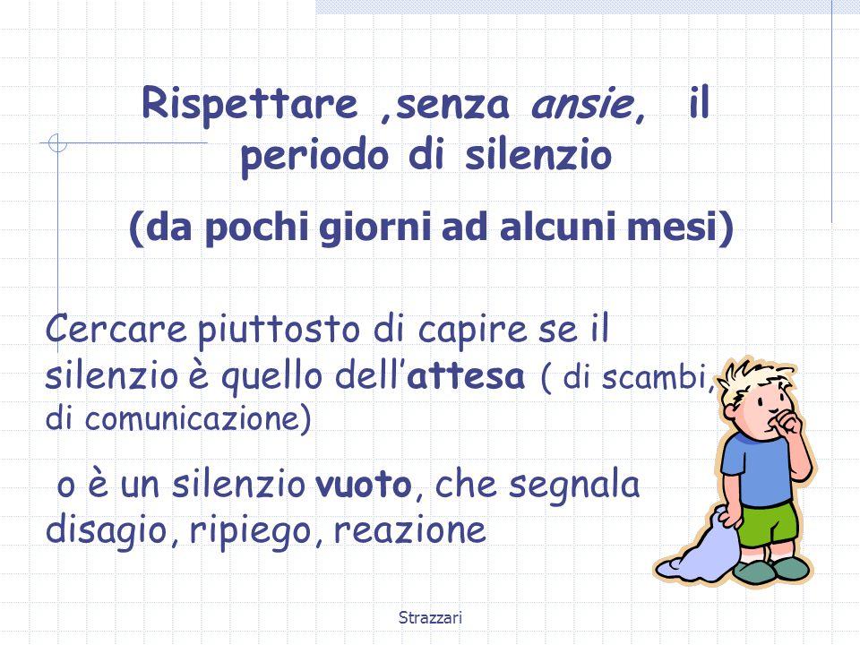 Strazzari Rispettare,senza ansie, il periodo di silenzio (da pochi giorni ad alcuni mesi) Cercare piuttosto di capire se il silenzio è quello dell'attesa ( di scambi, di comunicazione) o è un silenzio vuoto, che segnala disagio, ripiego, reazione
