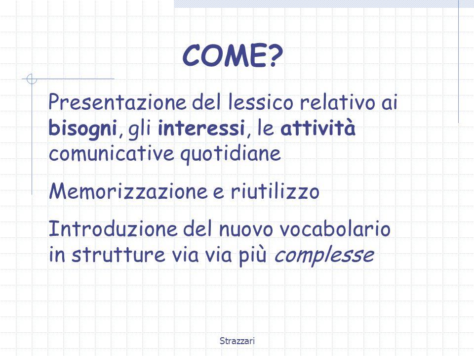 Strazzari COME? Presentazione del lessico relativo ai bisogni, gli interessi, le attività comunicative quotidiane Memorizzazione e riutilizzo Introduz