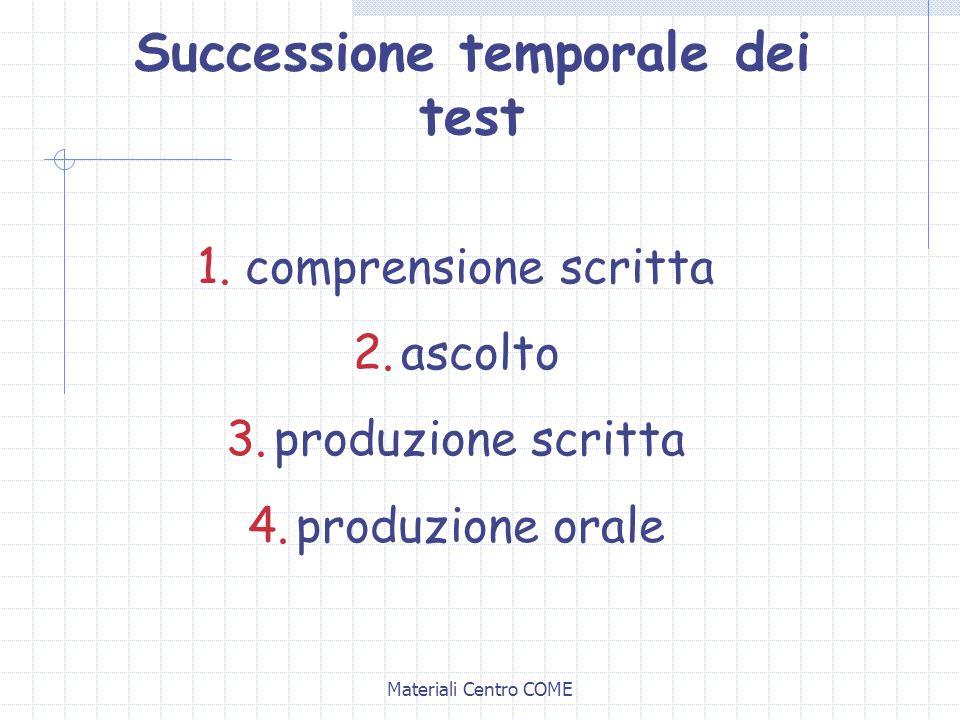 Materiali Centro COME Successione temporale dei test 1.comprensione scritta 2.ascolto 3.produzione scritta 4.produzione orale