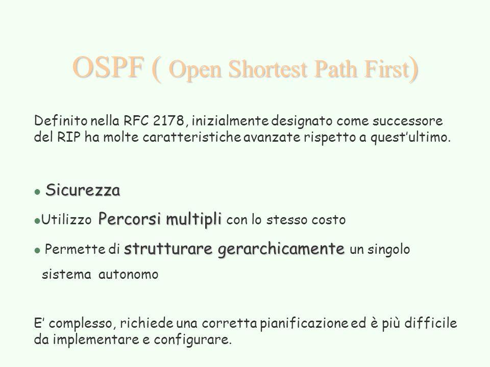 OSPF ( Open Shortest Path First ) Definito nella RFC 2178, inizialmente designato come successore del RIP ha molte caratteristiche avanzate rispetto a quest'ultimo.