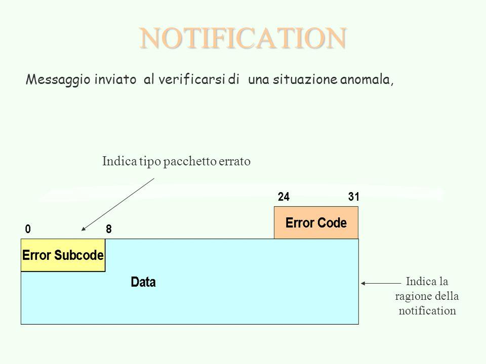 NOTIFICATION Messaggio inviato al verificarsi di una situazione anomala, Indica tipo pacchetto errato Indica la ragione della notification