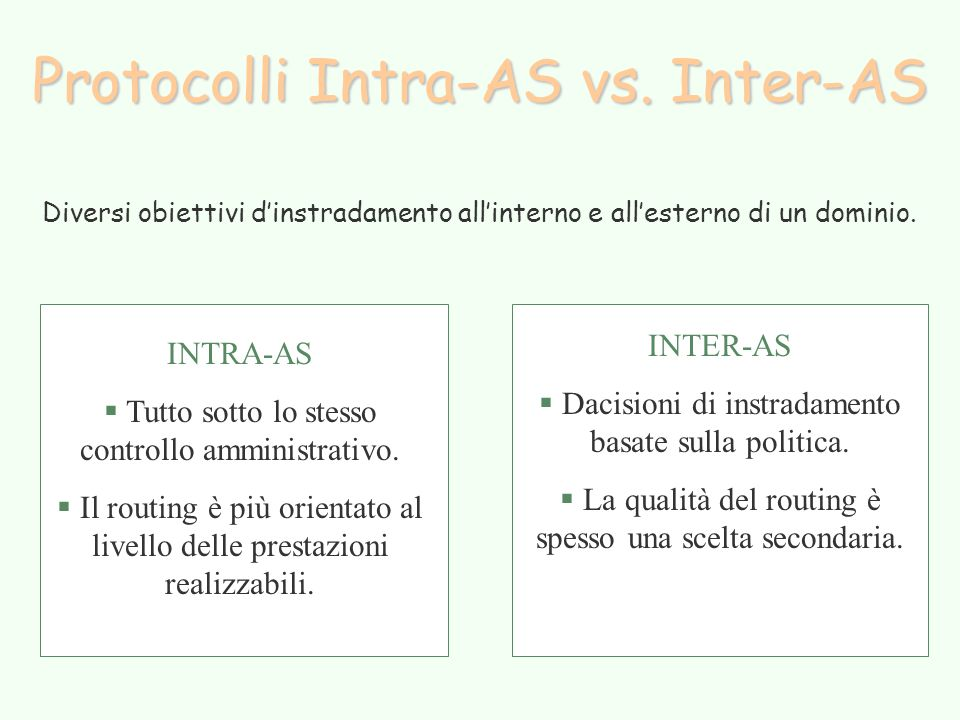 Protocolli Intra-AS vs.