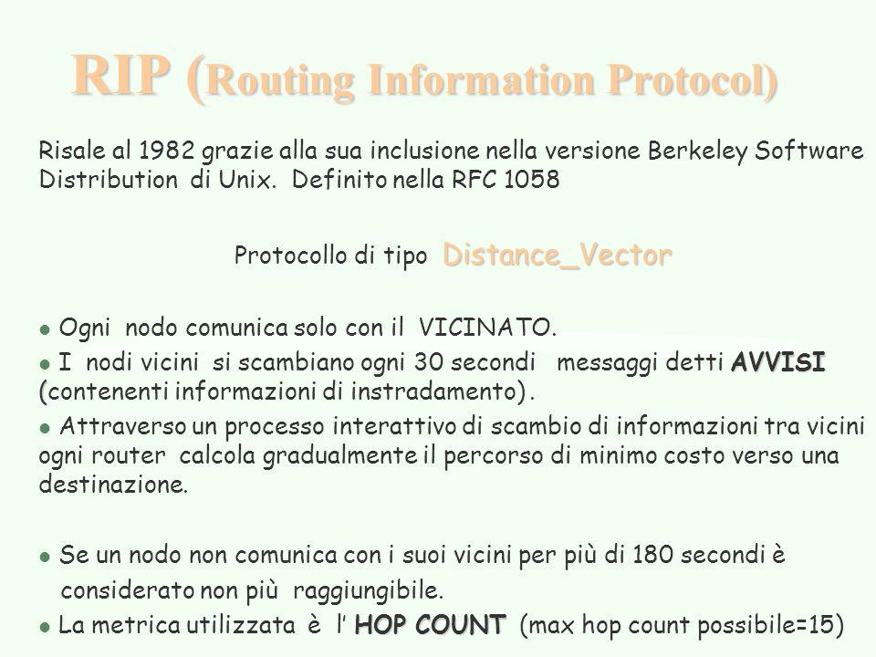 RIP ( Routing Information Protocol) Risale al 1982 grazie alla sua inclusione nella versione Berkeley Software Distribution di Unix. Definito nella RF