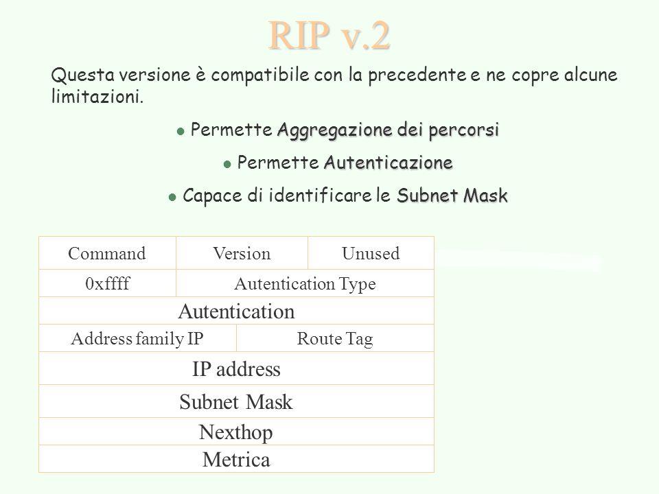 RIP v.2 Questa versione è compatibile con la precedente e ne copre alcune limitazioni. Aggregazione dei percorsi l Permette Aggregazione dei percorsi