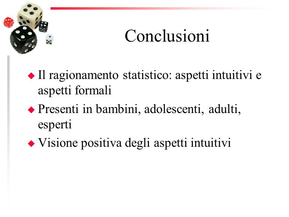 Conclusioni u Il ragionamento statistico: aspetti intuitivi e aspetti formali u Presenti in bambini, adolescenti, adulti, esperti u Visione positiva degli aspetti intuitivi