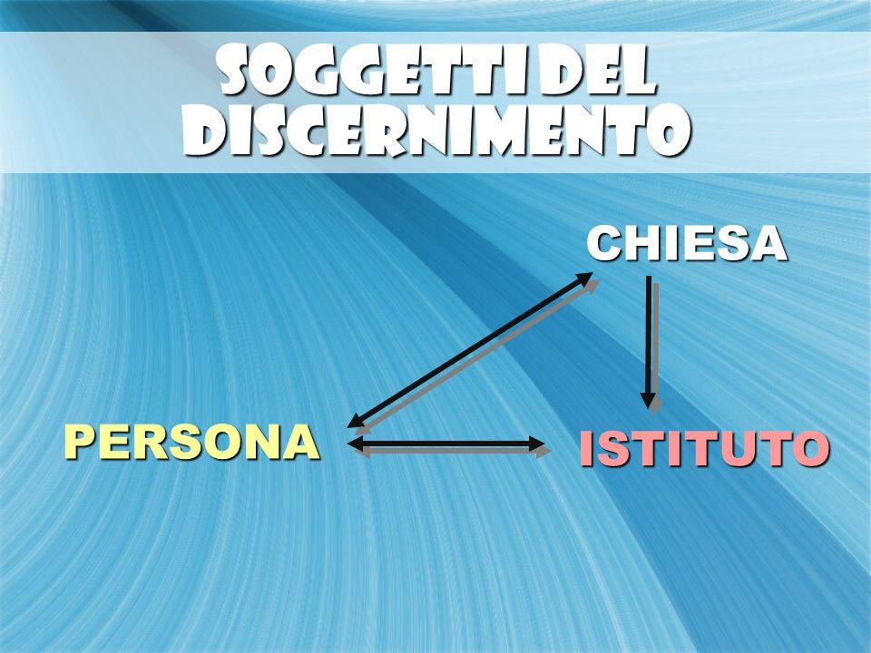 SOGGETTI DEL DISCERNIMENTO PERSONAPERSONA CHIESA ISTITUTO