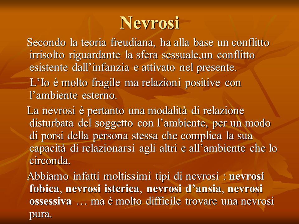 Nevrosi Secondo la teoria freudiana, ha alla base un conflitto irrisolto riguardante la sfera sessuale,un conflitto esistente dall'infanzia e attivato nel presente.