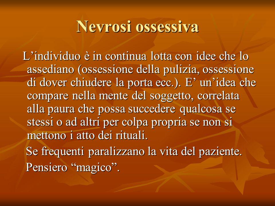 Nevrosi ossessiva L'individuo è in continua lotta con idee che lo assediano (ossessione della pulizia, ossessione di dover chiudere la porta ecc.).