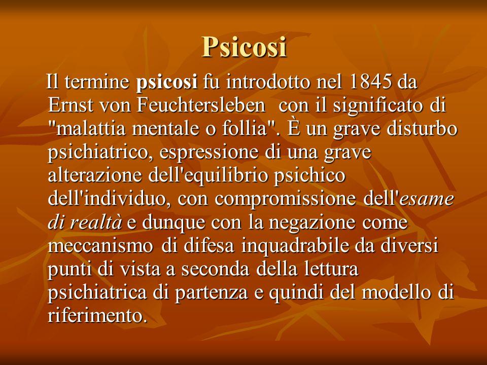 Psicosi Il termine psicosi fu introdotto nel 1845 da Ernst von Feuchtersleben con il significato di malattia mentale o follia .