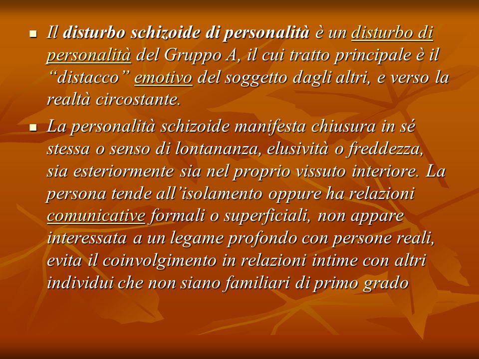 """Il disturbo schizoide di personalità è un disturbo di personalità del Gruppo A, il cui tratto principale è il """"distacco"""" emotivo del soggetto dagli al"""