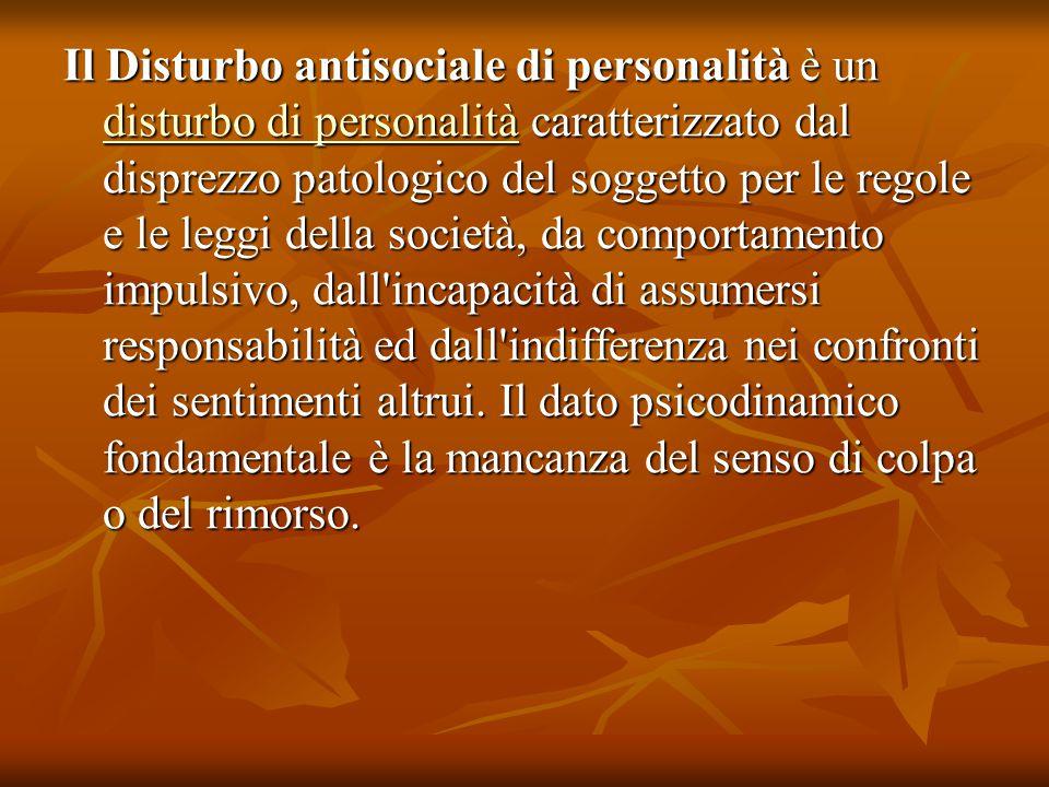 Il Disturbo antisociale di personalità è un disturbo di personalità caratterizzato dal disprezzo patologico del soggetto per le regole e le leggi dell