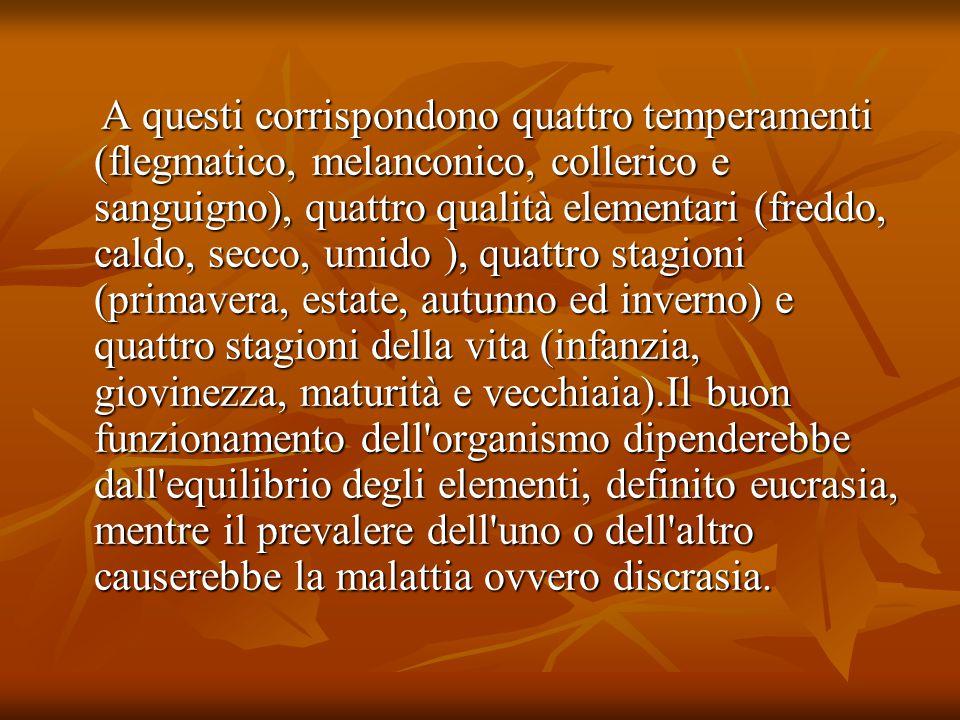 Oltre ad essere una teoria eziologica della malattia, la teoria umorale è anche una teoria della personalità: la predisposizione all eccesso di uno dei quattro umori definirebbe un carattere, un temperamento e insieme una costituzione fisica detta complessione: Oltre ad essere una teoria eziologica della malattia, la teoria umorale è anche una teoria della personalità: la predisposizione all eccesso di uno dei quattro umori definirebbe un carattere, un temperamento e insieme una costituzione fisica detta complessione: il flemmatico, con eccesso di flegma, è grasso, lento, pigro e sciocco; il flemmatico, con eccesso di flegma, è grasso, lento, pigro e sciocco; il melanconico, con eccesso di bile nera, è magro, debole, pallido, avaro, triste; il melanconico, con eccesso di bile nera, è magro, debole, pallido, avaro, triste; il collerico, con eccesso di bile gialla, è magro, asciutto, di bel colore, irascibile, permaloso, furbo, generoso e superbo, il collerico, con eccesso di bile gialla, è magro, asciutto, di bel colore, irascibile, permaloso, furbo, generoso e superbo, il tipo sanguigno, con eccesso di sangue, è rubicondo, gioviale, allegro, goloso e dedito ad una sessualità giocosa.
