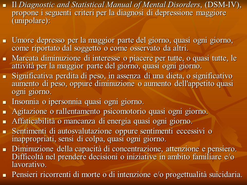 Il Diagnostic and Statistical Manual of Mental Disorders, (DSM-IV), propone i seguenti criteri per la diagnosi di depressione maggiore (unipolare): Il Diagnostic and Statistical Manual of Mental Disorders, (DSM-IV), propone i seguenti criteri per la diagnosi di depressione maggiore (unipolare): Umore depresso per la maggior parte del giorno, quasi ogni giorno, come riportato dal soggetto o come osservato da altri.