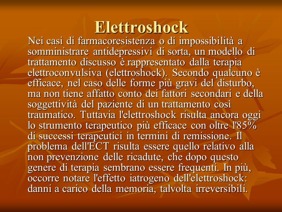 Elettroshock Nei casi di farmacoresistenza o di impossibilità a somministrare antidepressivi di sorta, un modello di trattamento discusso è rappresentato dalla terapia elettroconvulsiva (elettroshock).