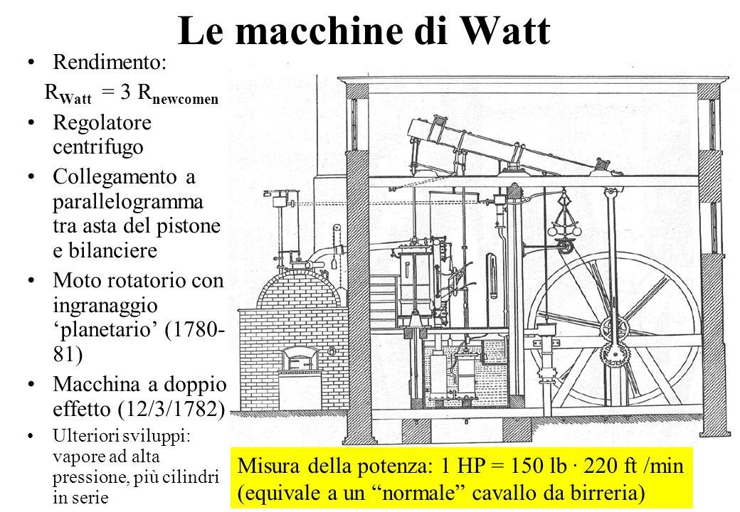 12 Le macchine di Watt Rendimento: R Watt = 3 R newcomen Regolatore centrifugo Collegamento a parallelogramma tra asta del pistone e bilanciere Moto rotatorio con ingranaggio 'planetario' (1780- 81) Macchina a doppio effetto (12/3/1782) Ulteriori sviluppi: vapore ad alta pressione, più cilindri in serie Misura della potenza: 1 HP = 150 lb · 220 ft /min (equivale a un normale cavallo da birreria)