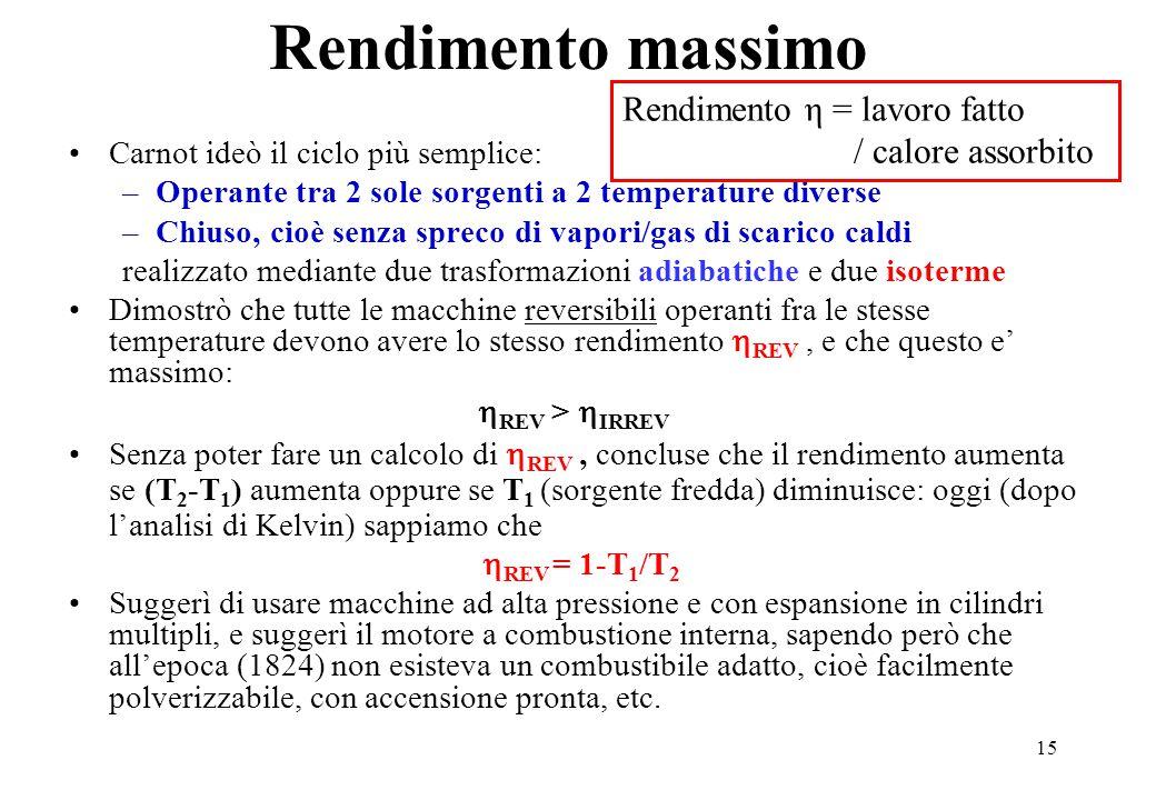 15 Carnot ideò il ciclo più semplice: –Operante tra 2 sole sorgenti a 2 temperature diverse –Chiuso, cioè senza spreco di vapori/gas di scarico caldi realizzato mediante due trasformazioni adiabatiche e due isoterme Dimostrò che tutte le macchine reversibili operanti fra le stesse temperature devono avere lo stesso rendimento  REV, e che questo e' massimo:  REV >  IRREV Senza poter fare un calcolo di  REV, concluse che il rendimento aumenta se (T 2 -T 1 ) aumenta oppure se T 1 (sorgente fredda) diminuisce: oggi (dopo l'analisi di Kelvin) sappiamo che  REV = 1-T 1 /T 2 Suggerì di usare macchine ad alta pressione e con espansione in cilindri multipli, e suggerì il motore a combustione interna, sapendo però che all'epoca (1824) non esisteva un combustibile adatto, cioè facilmente polverizzabile, con accensione pronta, etc.