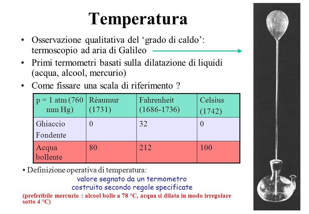 3 Temperatura Osservazione qualitativa del 'grado di caldo': termoscopio ad aria di Galileo Primi termometri basati sulla dilatazione di liquidi (acqua, alcool, mercurio) Come fissare una scala di riferimento .