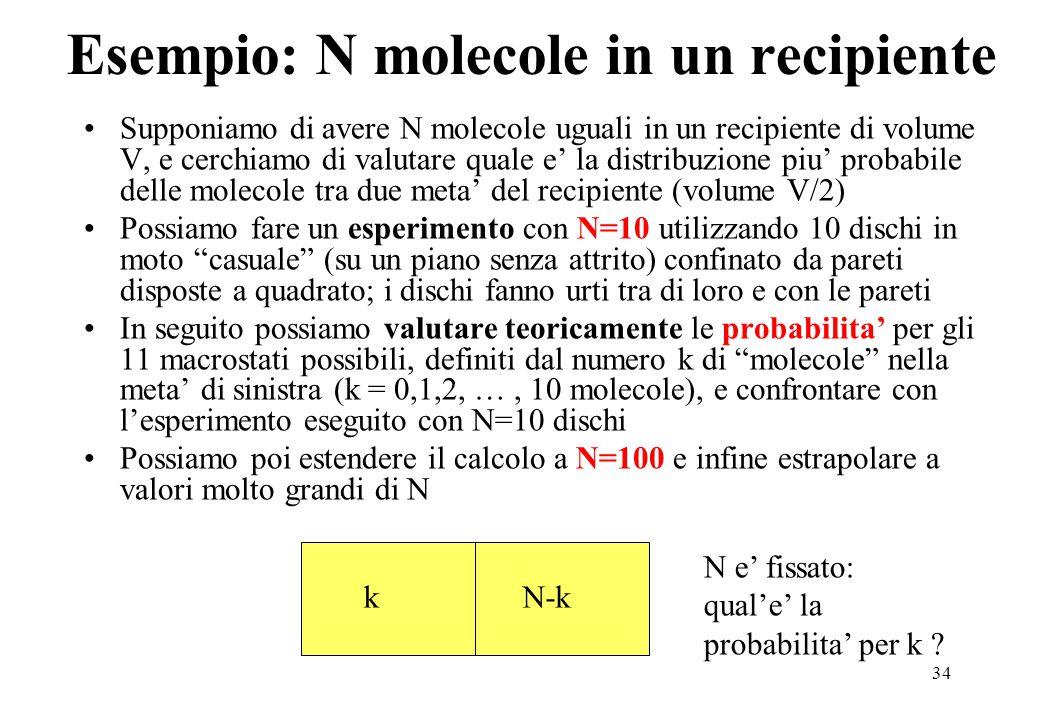 34 Esempio: N molecole in un recipiente Supponiamo di avere N molecole uguali in un recipiente di volume V, e cerchiamo di valutare quale e' la distribuzione piu' probabile delle molecole tra due meta' del recipiente (volume V/2) Possiamo fare un esperimento con N=10 utilizzando 10 dischi in moto casuale (su un piano senza attrito) confinato da pareti disposte a quadrato; i dischi fanno urti tra di loro e con le pareti In seguito possiamo valutare teoricamente le probabilita' per gli 11 macrostati possibili, definiti dal numero k di molecole nella meta' di sinistra (k = 0,1,2, …, 10 molecole), e confrontare con l'esperimento eseguito con N=10 dischi Possiamo poi estendere il calcolo a N=100 e infine estrapolare a valori molto grandi di N kN-k N e' fissato: qual'e' la probabilita' per k ?