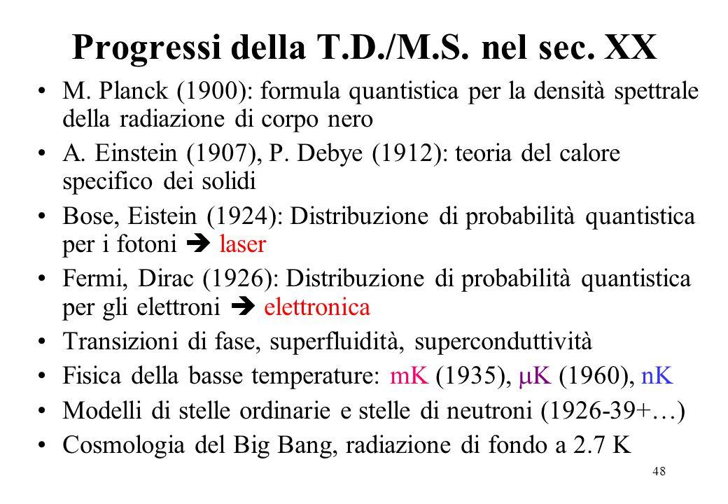 48 Progressi della T.D./M.S.nel sec. XX M.