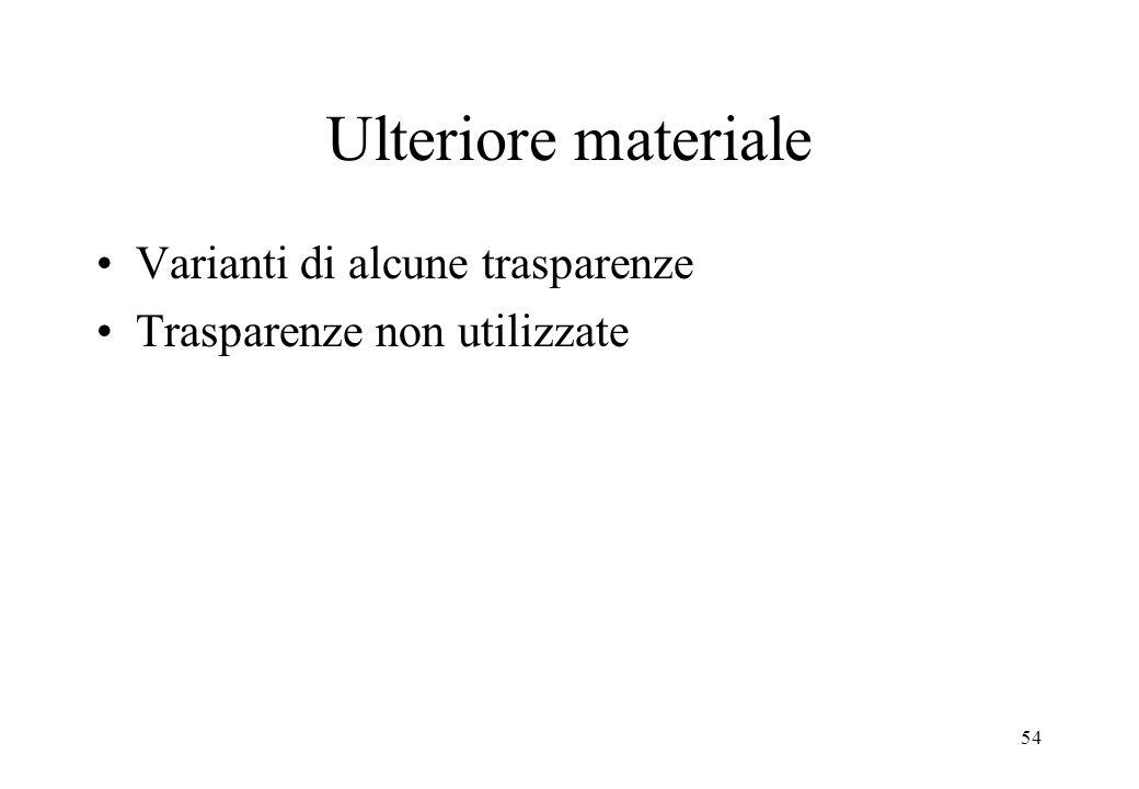 54 Ulteriore materiale Varianti di alcune trasparenze Trasparenze non utilizzate