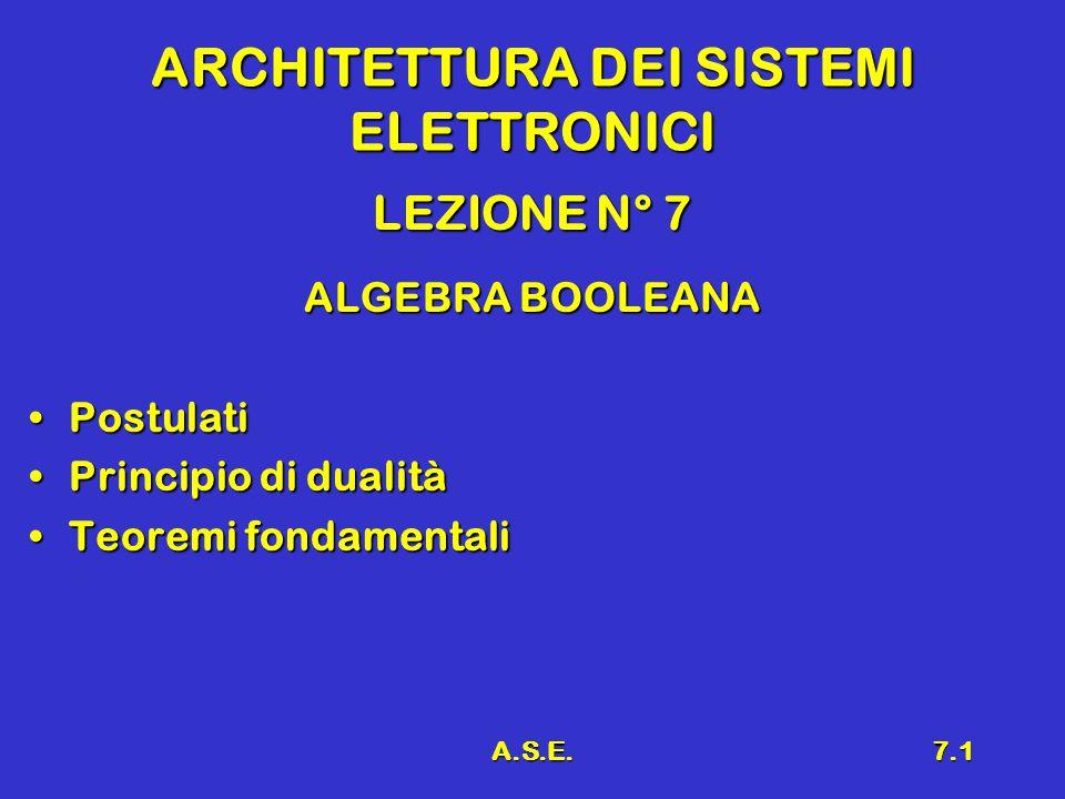 A.S.E.7.1 ARCHITETTURA DEI SISTEMI ELETTRONICI LEZIONE N° 7 ALGEBRA BOOLEANA PostulatiPostulati Principio di dualitàPrincipio di dualità Teoremi fondamentaliTeoremi fondamentali