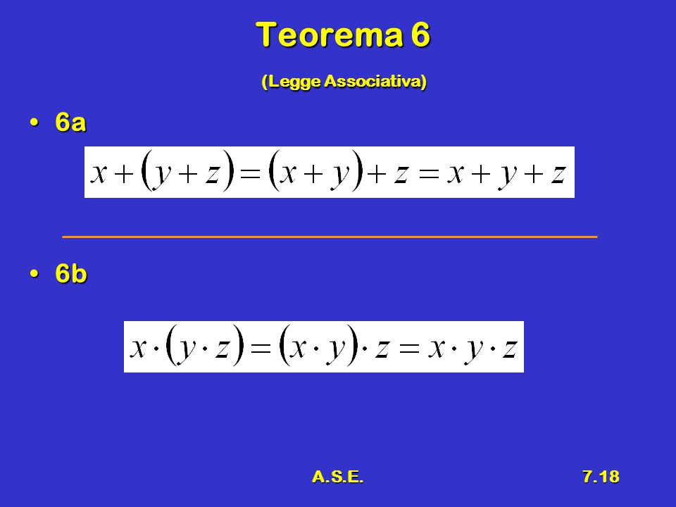 A.S.E.7.18 Teorema 6 (Legge Associativa) 6a6a 6b6b