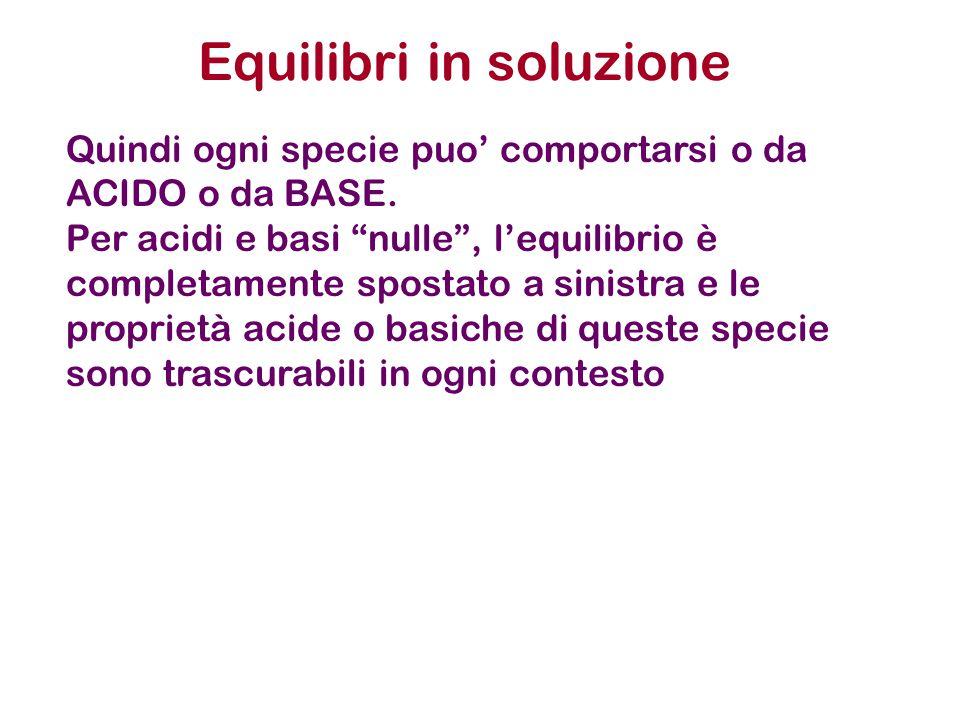 """Quindi ogni specie puo' comportarsi o da ACIDO o da BASE. Per acidi e basi """"nulle"""", l'equilibrio è completamente spostato a sinistra e le proprietà ac"""