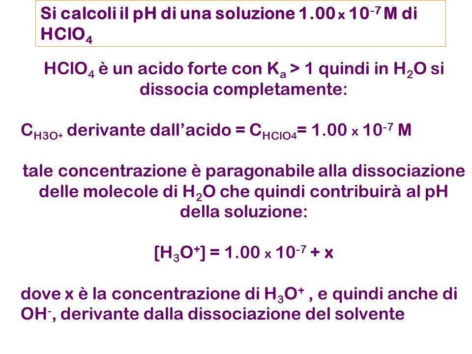 Si calcoli il pH di una soluzione 1.00 x 10 -7 M di HClO 4 HClO 4 è un acido forte con K a > 1 quindi in H 2 O si dissocia completamente: C H3O + derivante dall'acido = C HClO 4 = 1.00 x 10 -7 M tale concentrazione è paragonabile alla dissociazione delle molecole di H 2 O che quindi contribuirà al pH della soluzione: [H 3 O + ] = 1.00 x 10 -7 + x dove x è la concentrazione di H 3 O +, e quindi anche di OH -, derivante dalla dissociazione del solvente