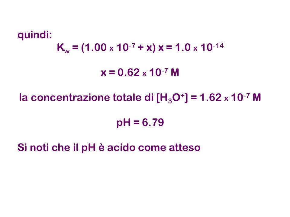 quindi: K w = (1.00 x 10 -7 + x) x = 1.0 x 10 -14 x = 0.62 x 10 -7 M la concentrazione totale di [H 3 O + ] = 1.62 x 10 -7 M pH = 6.79 Si noti che il