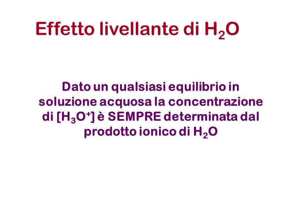 Dato un qualsiasi equilibrio in soluzione acquosa la concentrazione di [H 3 O + ] è SEMPRE determinata dal prodotto ionico di H 2 O Effetto livellante di H 2 O