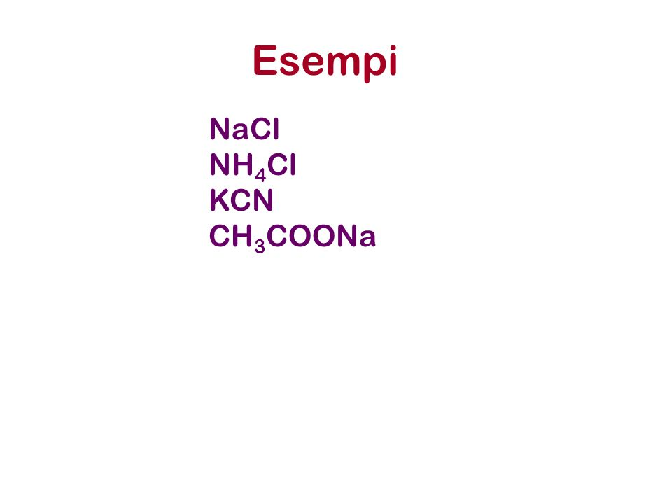 Esempi NaCl NH 4 Cl KCN CH 3 COONa