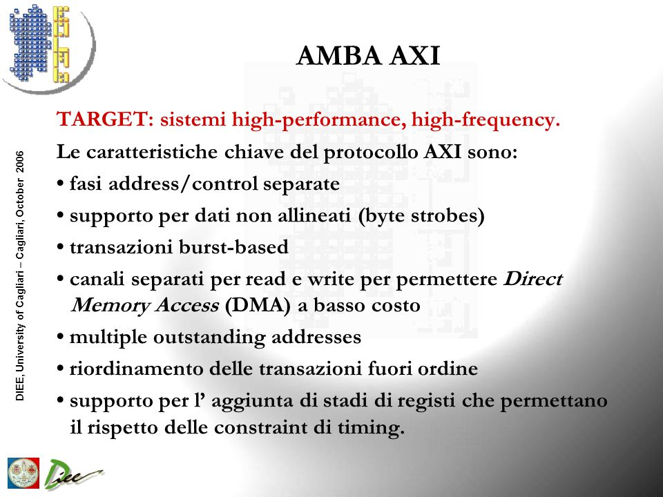 DIEE, University of Cagliari – Cagliari, October 2006 AMBA AXI TARGET: sistemi high-performance, high-frequency.