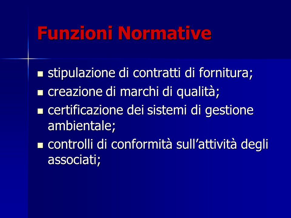 Funzioni Normative stipulazione di contratti di fornitura; stipulazione di contratti di fornitura; creazione di marchi di qualità; creazione di marchi