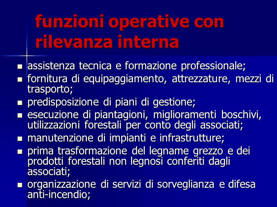 funzioni operative con rilevanza interna assistenza tecnica e formazione professionale; assistenza tecnica e formazione professionale; fornitura di eq