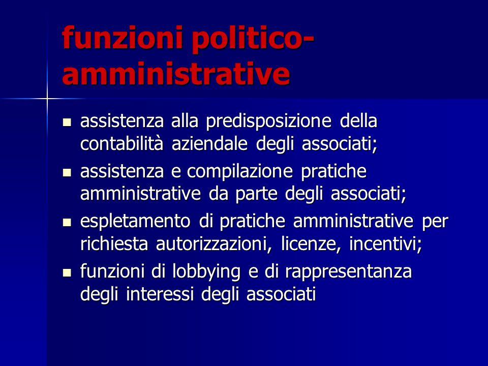 funzioni politico- amministrative assistenza alla predisposizione della contabilità aziendale degli associati; assistenza alla predisposizione della c