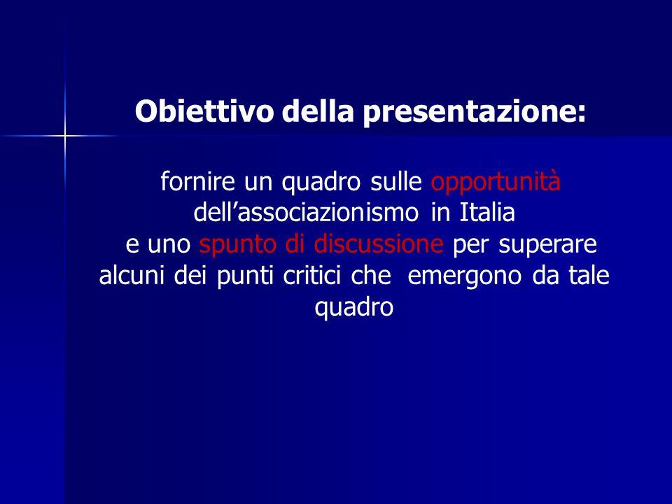 Obiettivo della presentazione: fornire un quadro sulle opportunità dell'associazionismo in Italia e uno spunto di discussione per superare alcuni dei