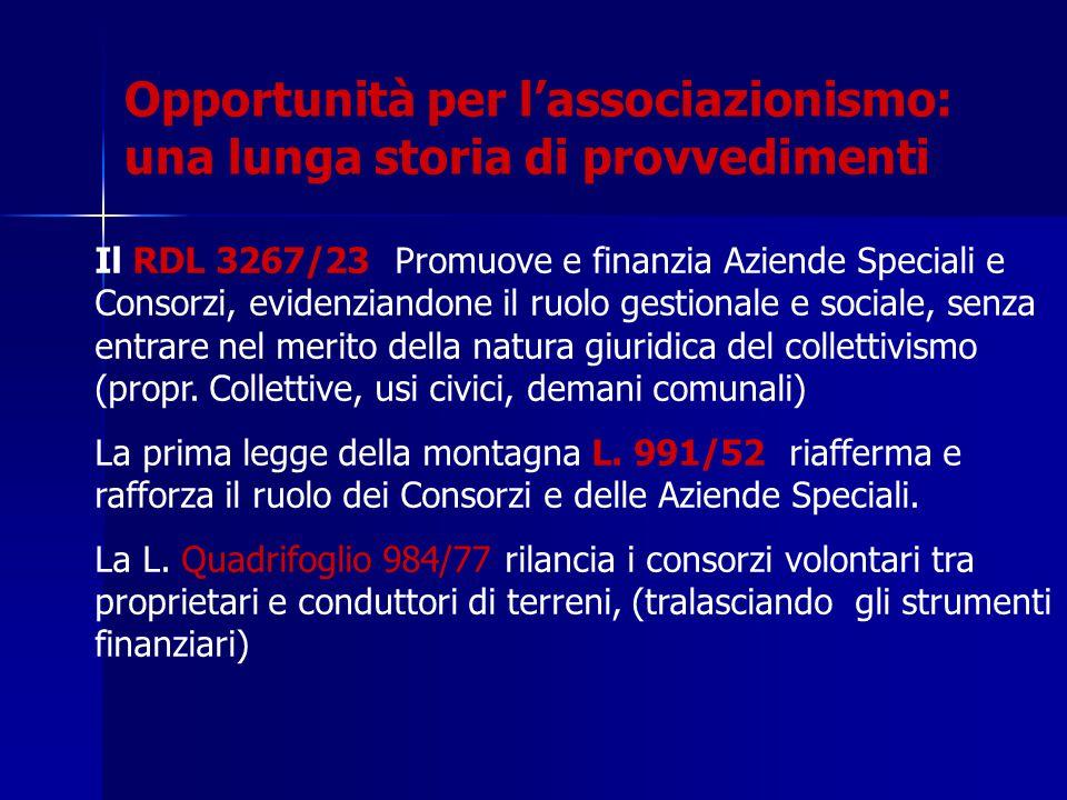Il RDL 3267/23 Promuove e finanzia Aziende Speciali e Consorzi, evidenziandone il ruolo gestionale e sociale, senza entrare nel merito della natura giuridica del collettivismo (propr.