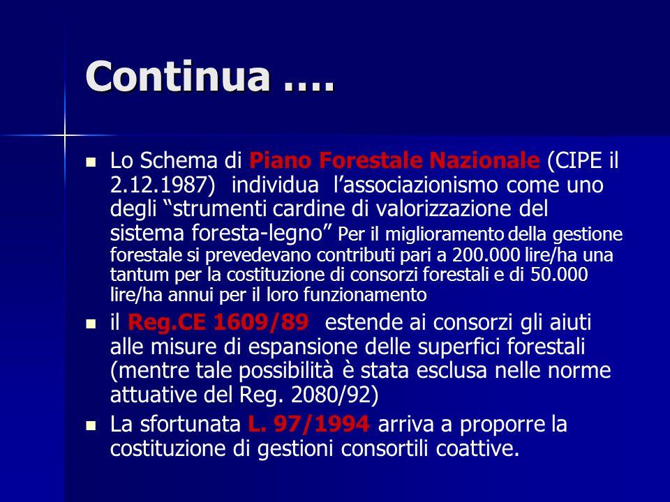 """Lo Schema di Piano Forestale Nazionale (CIPE il 2.12.1987) individua l'associazionismo come uno degli """"strumenti cardine di valorizzazione del sistema"""