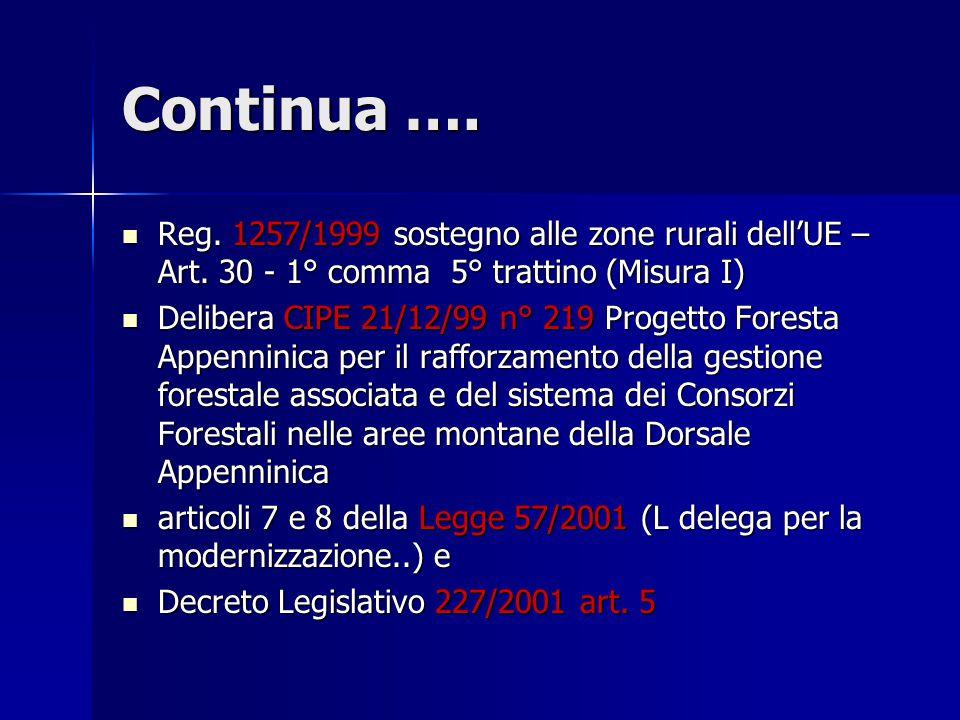 Reg. 1257/1999 sostegno alle zone rurali dell'UE – Art. 30 - 1° comma 5° trattino (Misura I) Reg. 1257/1999 sostegno alle zone rurali dell'UE – Art. 3