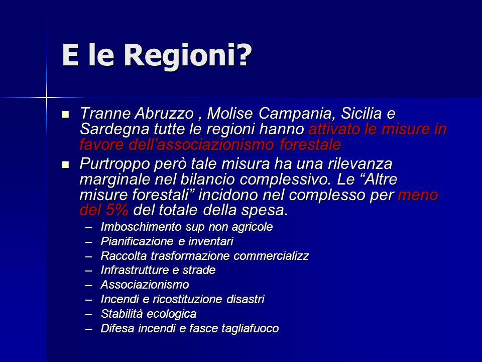 E le Regioni? Tranne Abruzzo, Molise Campania, Sicilia e Sardegna tutte le regioni hanno attivato le misure in favore dell'associazionismo forestale T