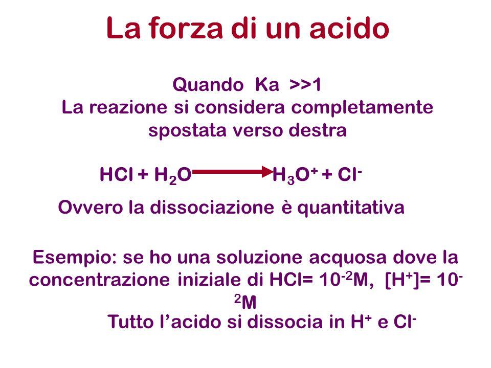 La forza di un acido Quando Ka >>1 La reazione si considera completamente spostata verso destra HCl + H 2 O H 3 O + + Cl - Ovvero la dissociazione è quantitativa Esempio: se ho una soluzione acquosa dove la concentrazione iniziale di HCl= 10 -2 M, [H + ]= 10 - 2 M Tutto l'acido si dissocia in H + e Cl -
