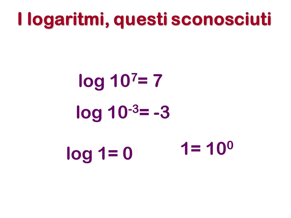 I logaritmi, questi sconosciuti log 10 7 = 7 log 1= 0 log 10 -3 = -3 1= 10 0