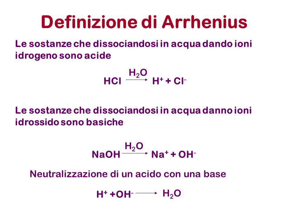 Ogni specie chimica (molecola neutra o ione) in soluzione acquosa reagisce, almeno in linea di principio, con H 2 O.