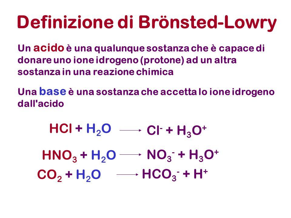 Definizione di Brönsted-Lowry Un acido è una qualunque sostanza che è capace di donare uno ione idrogeno (protone) ad un altra sostanza in una reazione chimica Una base è una sostanza che accetta lo ione idrogeno dall acido HNO 3 + H 2 O NO 3 - + H 3 O + HCl + H 2 O Cl - + H 3 O + CO 2 + H 2 O HCO 3 - + H +