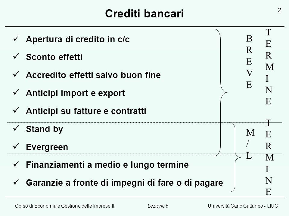 Corso di Economia e Gestione delle Imprese IIUniversità Carlo Cattaneo - LIUCLezione 6 3 Apertura di credito bancario L'apertura di credito bancario: 1.