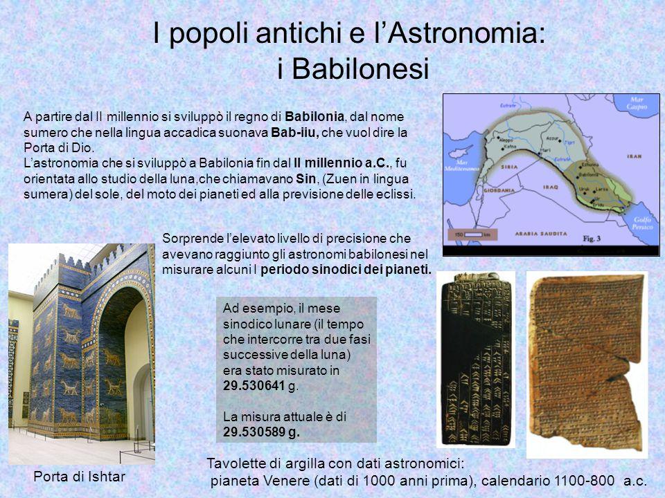 I popoli antichi e l'Astronomia: i Babilonesi Sorprende l'elevato livello di precisione che avevano raggiunto gli astronomi babilonesi nel misurare alcuni I periodo sinodici dei pianeti.
