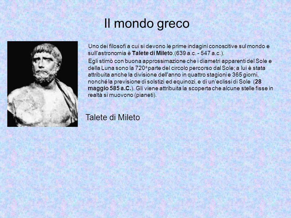 Uno dei filosofi a cui si devono le prime indagini conoscitive sul mondo e sull astronomia è Talete di Mileto.(639 a.c.