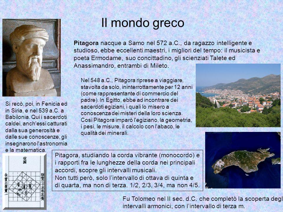 Il mondo greco Pitagora nacque a Samo nel 572 a.C., da ragazzo intelligente e studioso, ebbe eccellenti maestri, i migliori del tempo: il musicista e poeta Ermodame, suo concittadino, gli scienziati Talete ed Anassimandro, entrambi di Mileto.