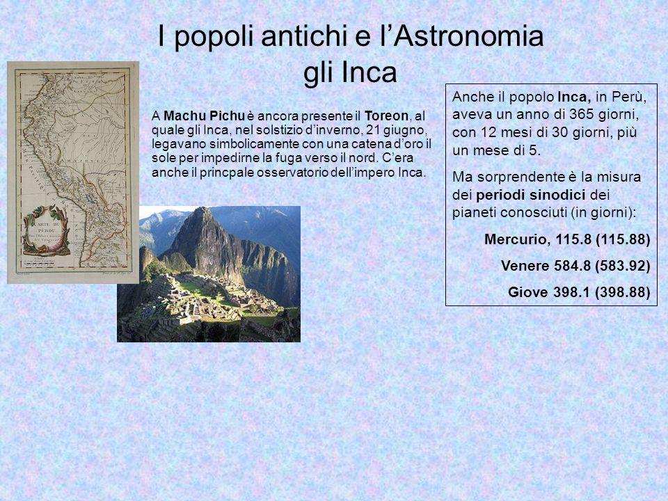 I popoli antichi e l'Astronomia gli Inca Anche il popolo Inca, in Perù, aveva un anno di 365 giorni, con 12 mesi di 30 giorni, più un mese di 5.